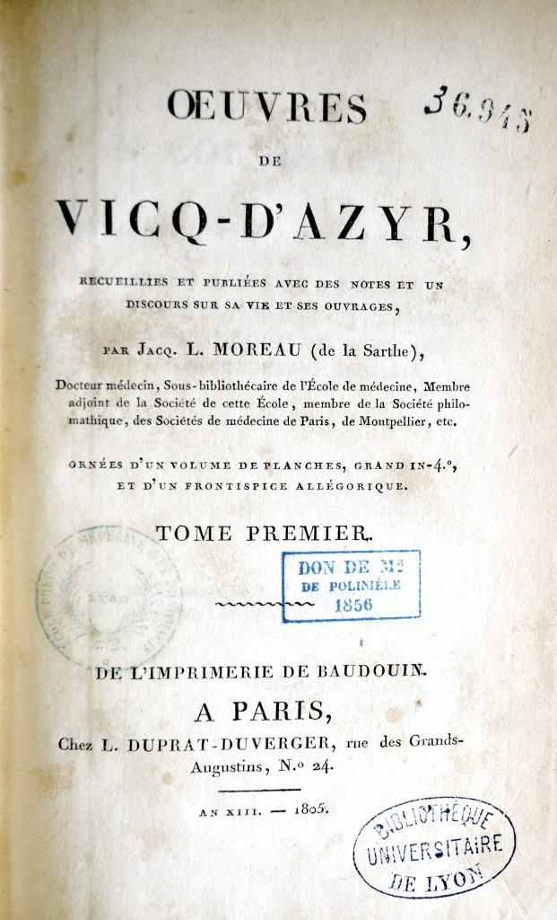 Page de titre vol 1 avec mention don de Mr de Polinière 1856
