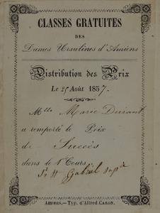 Ex-praemio imprimé : Les premiers pèlerins, ou les personnages les plus célèbres de la loi naturelle. Versailles : imp. Beau, 1864. Cote 2RB 1609