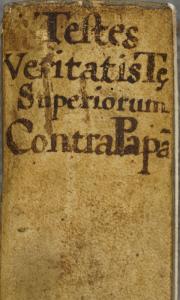 DTitre manuscrit au dosCatalogum testium ueritatis 1562. Cote : 1R 2695