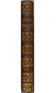 Dos décoré aux petits fersLouis Montegut. Histoire de Notre-Dame de Mont-Serrat. 1747. Cote : FANC 35758