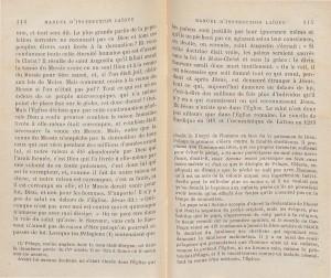 Le Manuel d'instruction laïque, publié en 1884 par Edgar Monteil (1845-1921), journaliste libre-penseur, acteur de la Commune, puis homme politique et préfet sous la IIIe République. L'ouvrage, tout en adoptant la forme traditionnelle du catéchisme (questions/réponses), n'en contient pas moins un propos fortement anticlérical, et très critique vis-à-vis du christianisme. A titre d'exemple, voici deux pages où l'auteur, partant d'une critique rousseauiste du principe «Hors de l'Eglise, point de salut», nie la nécessité d'un Messie.