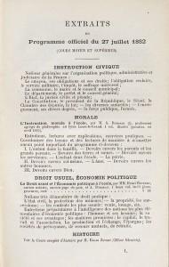 Extraits du programme officiel du 27 juillet 1882 figurant en tête de L'instruction civique à l'école, manuel républicain et laïque de Paul Bert, publié en 1882 et mis à l'Index par l'Eglise catholique avec trois autres ouvrages en décembre de la même année.