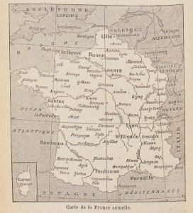 La France « actuelle » (en 1902), amputée de l'Alsace et de la Lorraine. Alphonse Aulard est l'auteur des Eléments d'instruction civique, joints par l'éditeur, sous une même couverture, aux Leçons de morale d'Albert Bayet. La présente carte est tirée de ces Eléments.