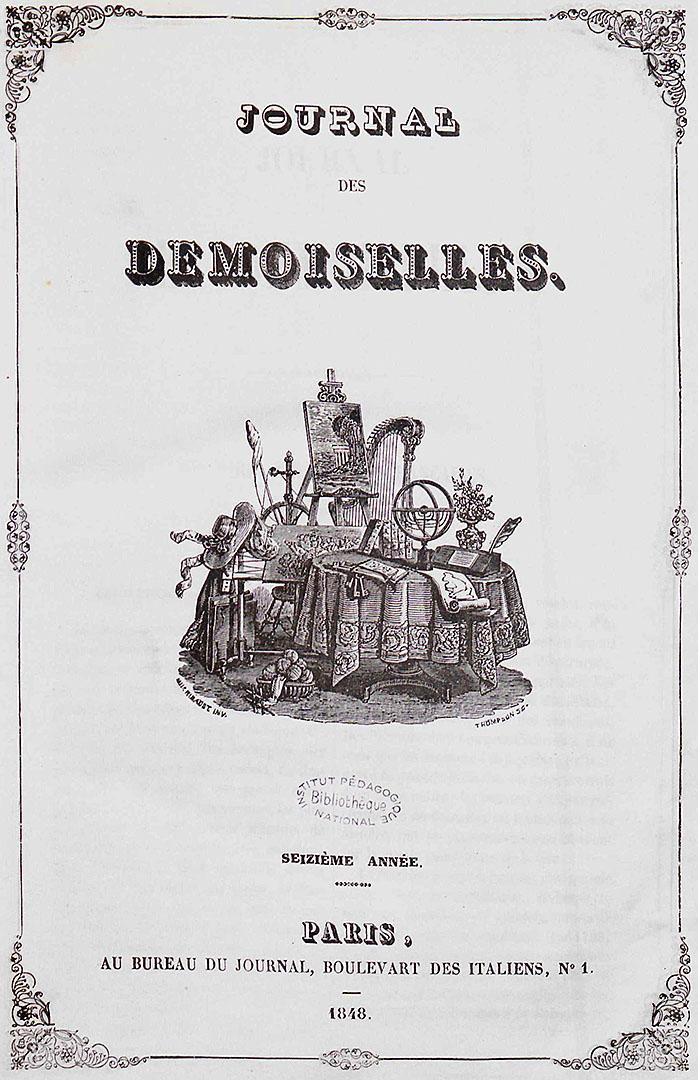 Page de garde du Journal des Demoiselles, vol. 1848