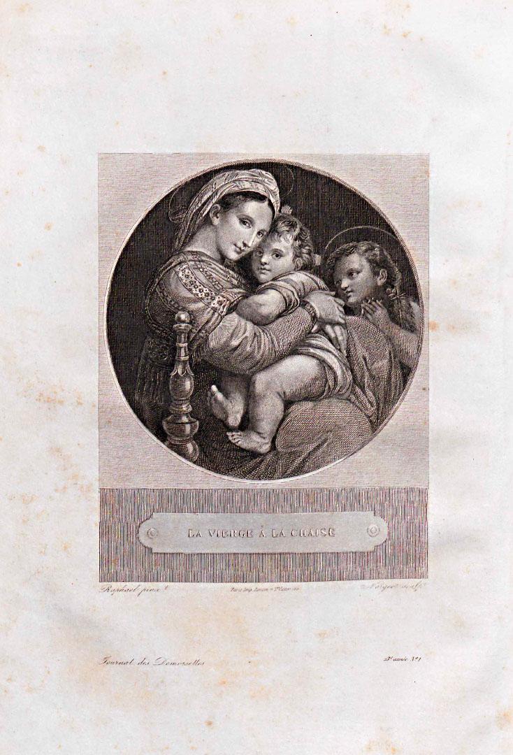 Gravure sur acier : La Vierge à la chaise de Raphaël, Journal des Demoiselles, vol. 1855