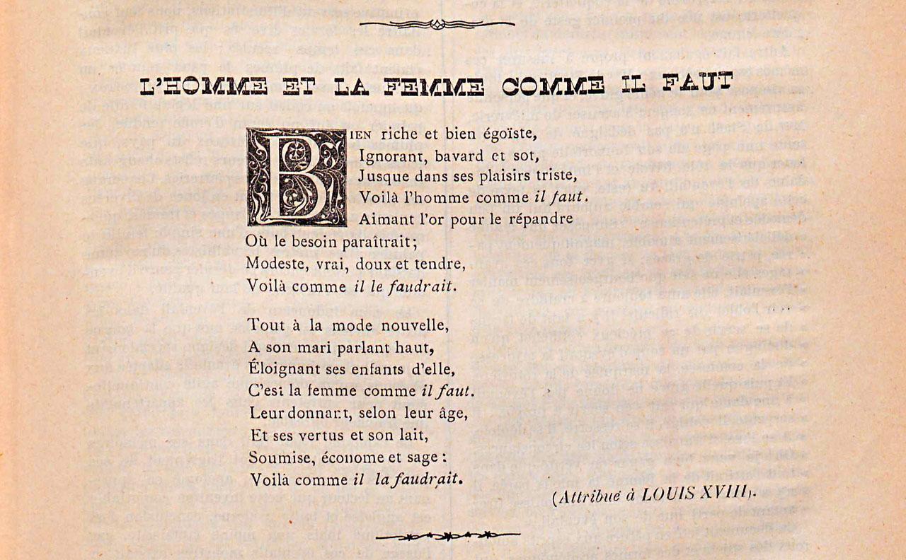 Poème attribué à Louis XVIII : L'homme et la femme comme il faut