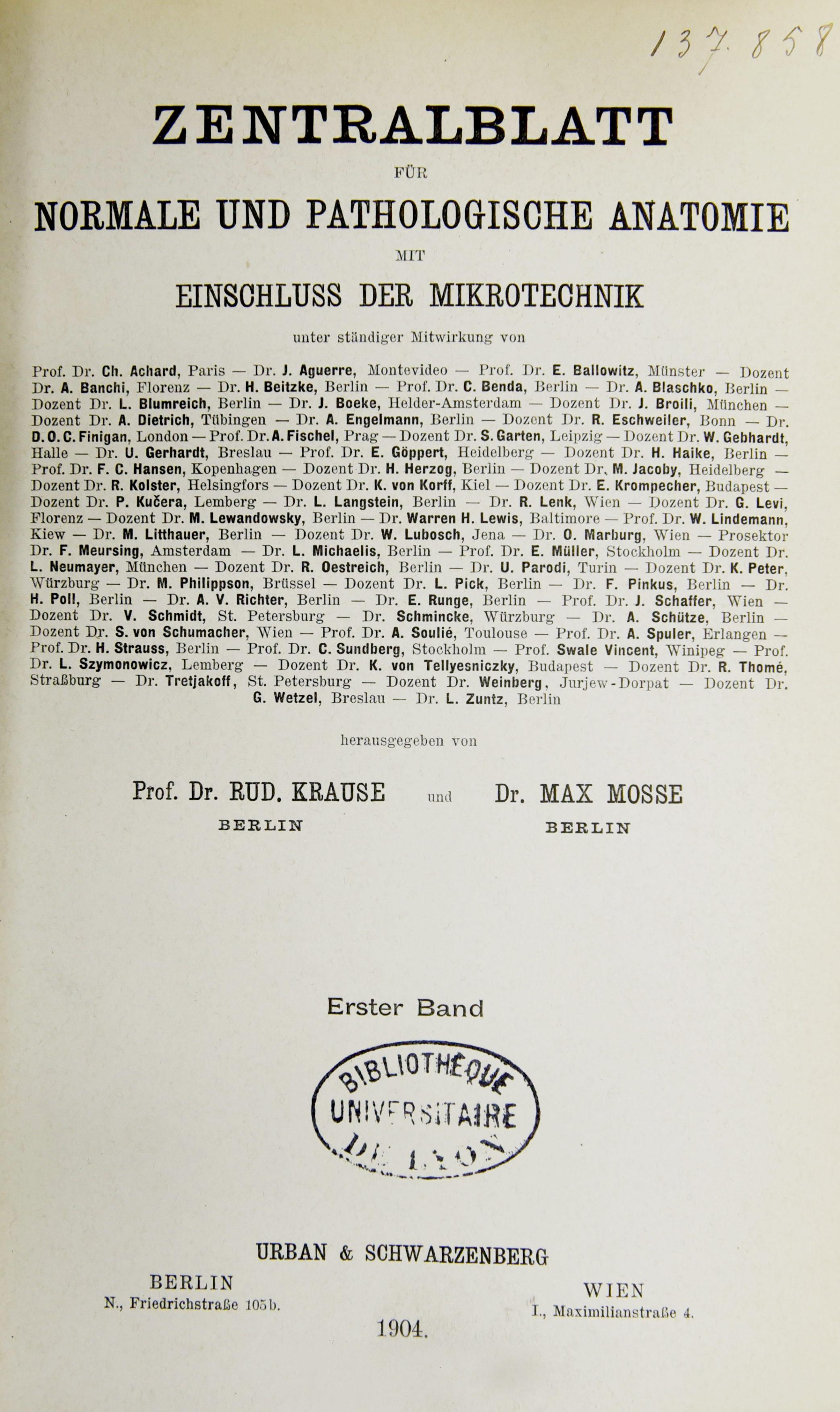 Zentralblatt für normale und pathologischen Anatomie