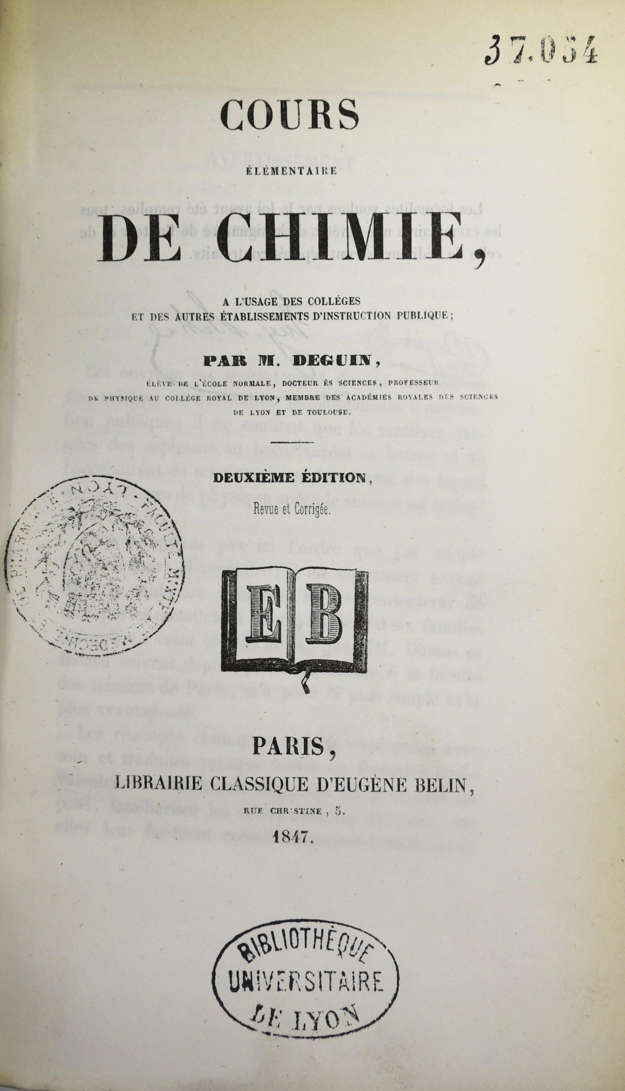 Cours elementaire de chimie 1847_page de titre