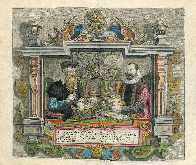 Double portrait de Hondius et Mercator [Non signé]