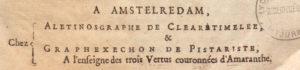 libraires imaginaires « d'Amstelredam », Aléthinosgraphe de Cléaretimelée et Graphexechon de Pistariste
