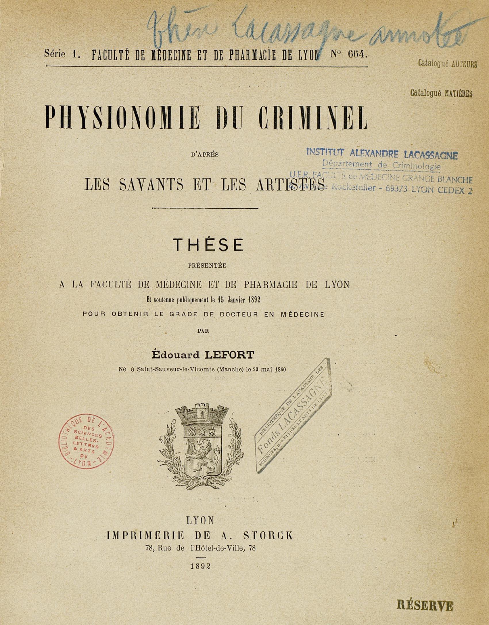Physionomie du criminel d'après les savants et les artistes