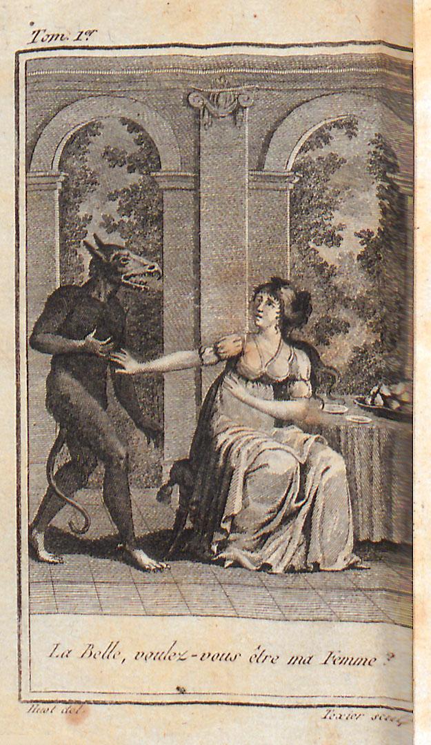 Frontispice, légendé «LaBelle, voulez-vousêtre mafemme?» quiintroduit LeMagasin desenfans. TomeI, publié àParis chezGérard enl'anXII. [CoteBibliothèqueDiderot deLyon: 2RA3588-1].