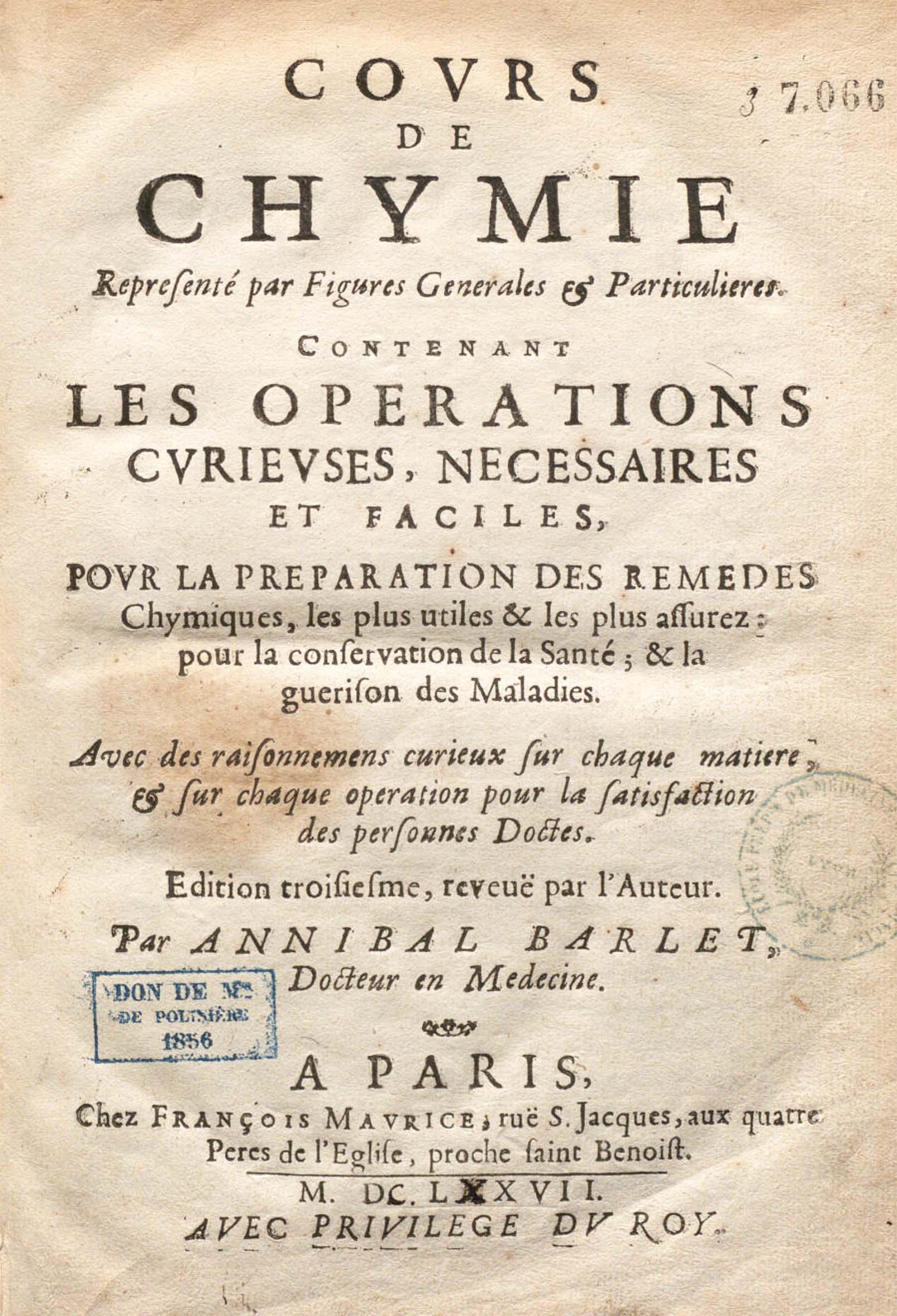 Cours de chymie représenté par figures générales et particul